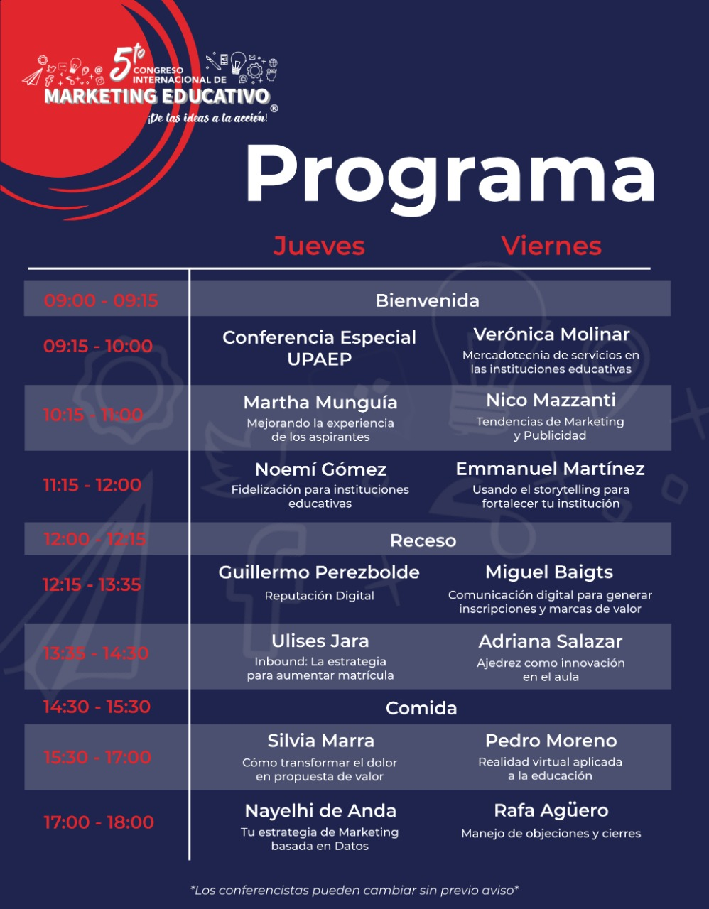 Programa 5to congreso de marketing educativo - Kpta